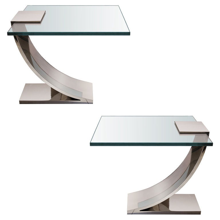 Pair of polished nickel and glass side tables for sale at for Glass end tables