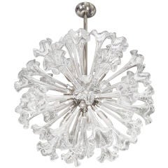 Murano Nickel and Glass Flower Chandelier