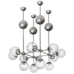 German Nickel Chandelier with Nickel and Glass Globes