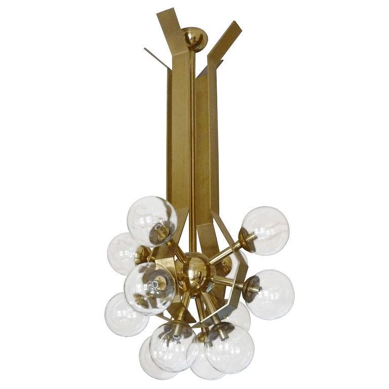 German Brass Chandelier with Glass Globes