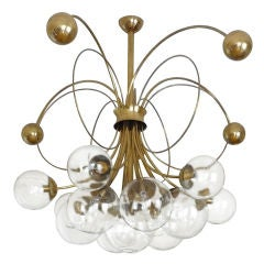 German Brass Chandelier with Circular Brass Rings and Glass Globes