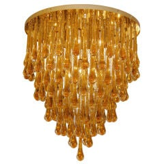 Barovier & Toso Large Amber Glass Teardrop Chandelier
