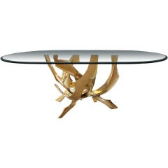 Signed Fred Brouard Abstract Bronze Dining Table Base