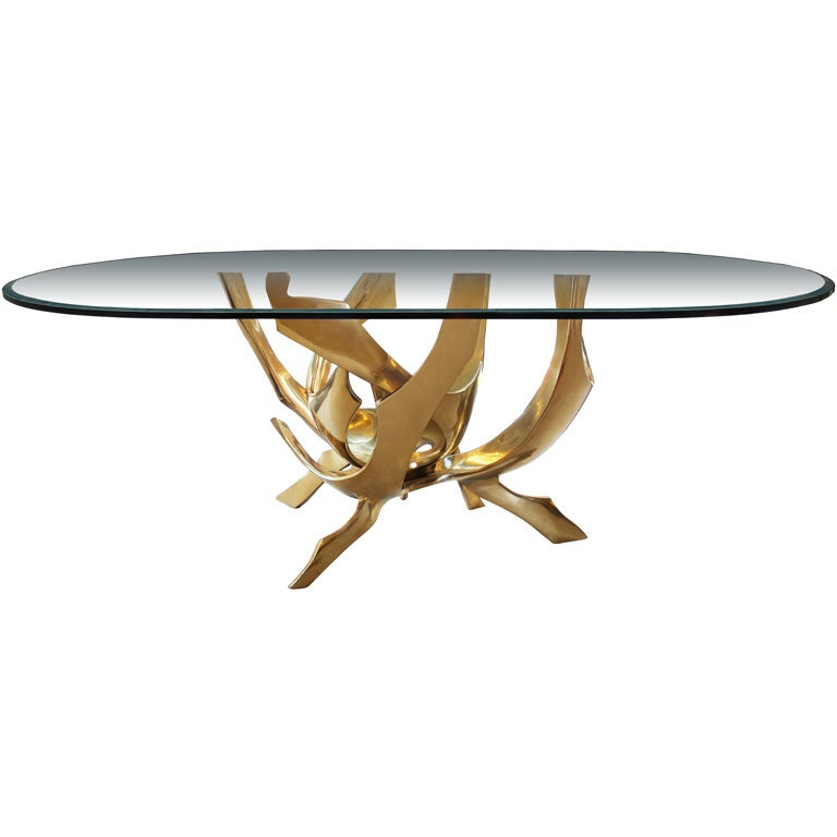Signed Fred Brouard Abstract Bronze Dining Table Base 1