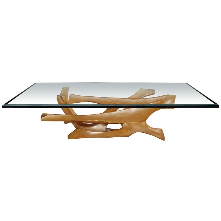 Signed Fred Brouard Abstract Gilt Bronze Coffee Table Base For Sale At 1stdibs