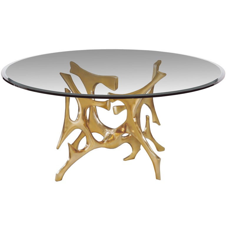 Perfect Signed Fred Brouard Abstract Gilt Bronze Dining Table Base 1