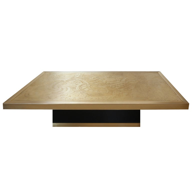 Signed Guy De Jong Etched Bronze Coffee Table At 1stdibs