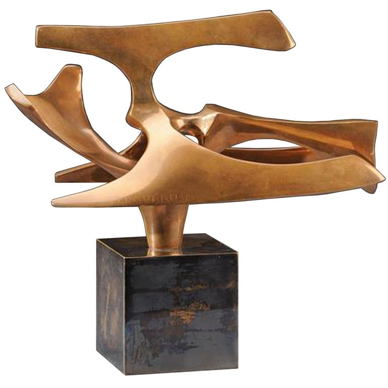 Signed Fred Brouard Abstract Gilt Bronze Sculpture At 1stdibs
