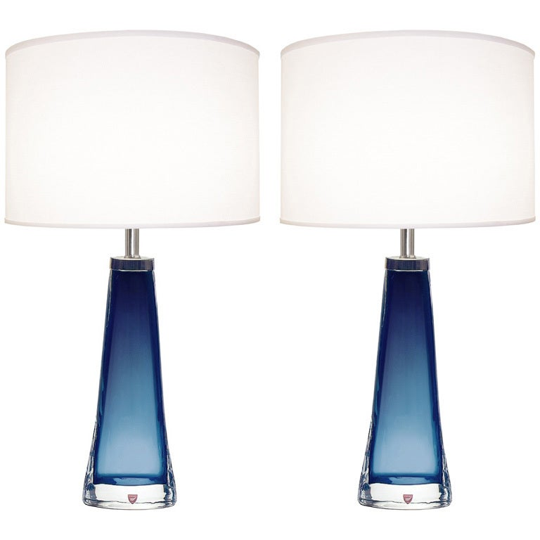 Pair Of Nils Landberg For Orrefors Blue Glass Lamps For