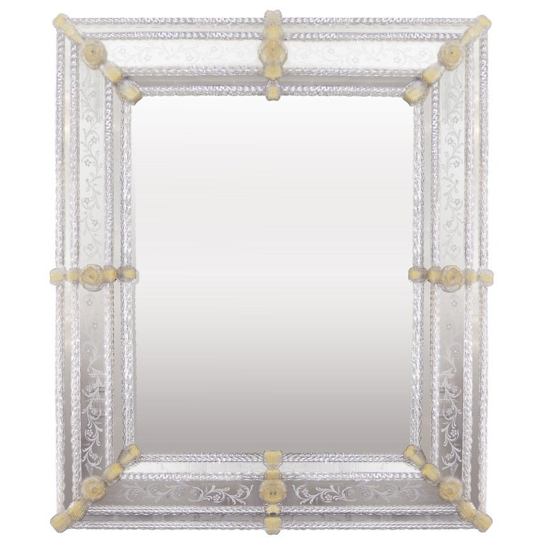 Murano Etched Mirror with Pale Amber Glass Detail