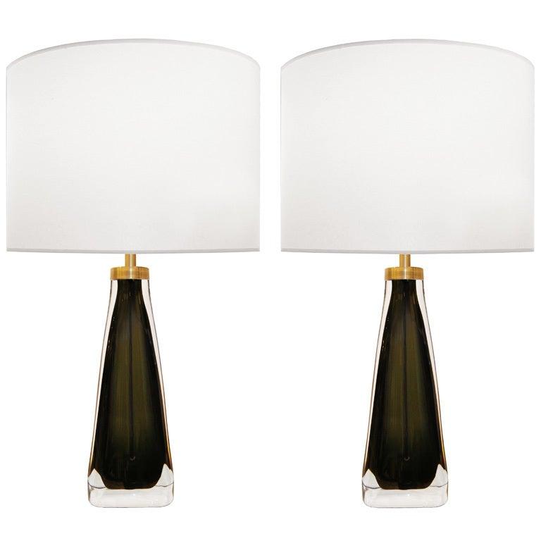 Pair of Nils Landberg for Orrefors Olive Green Glass Lamps