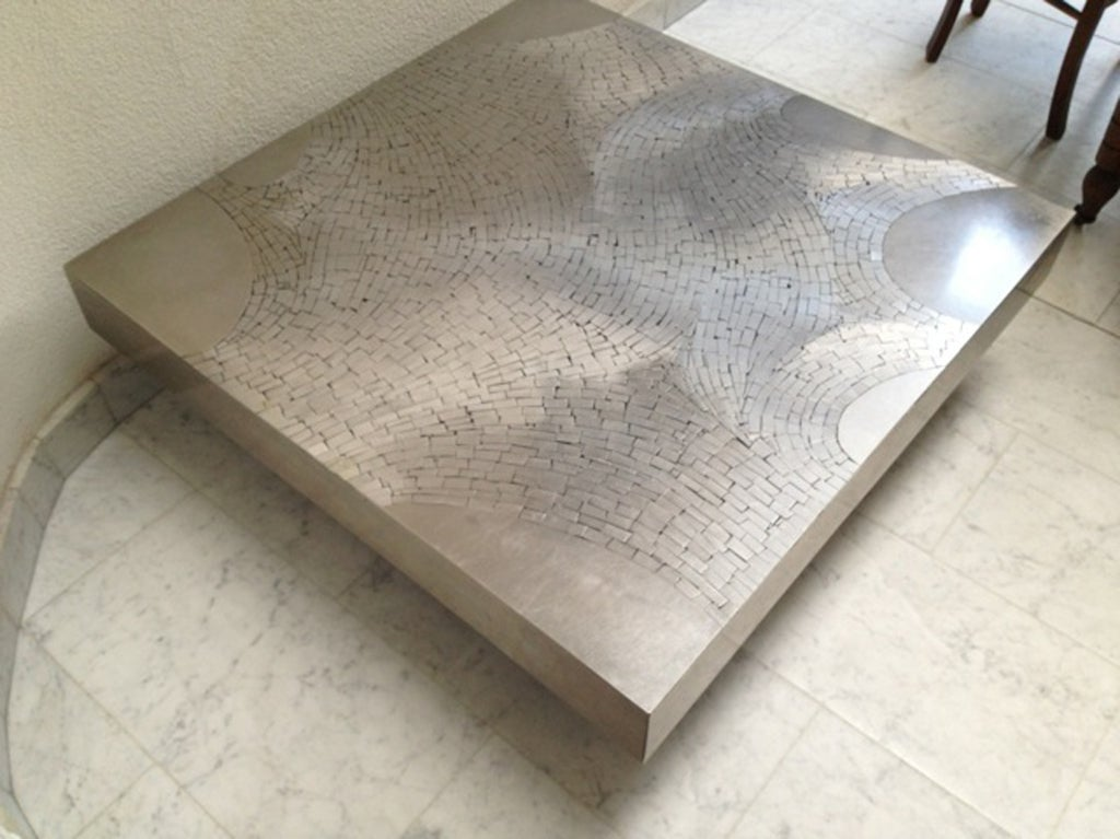 Signed Stainless Steel Coffee Table By Jean Claude Dresse At 1stdibs