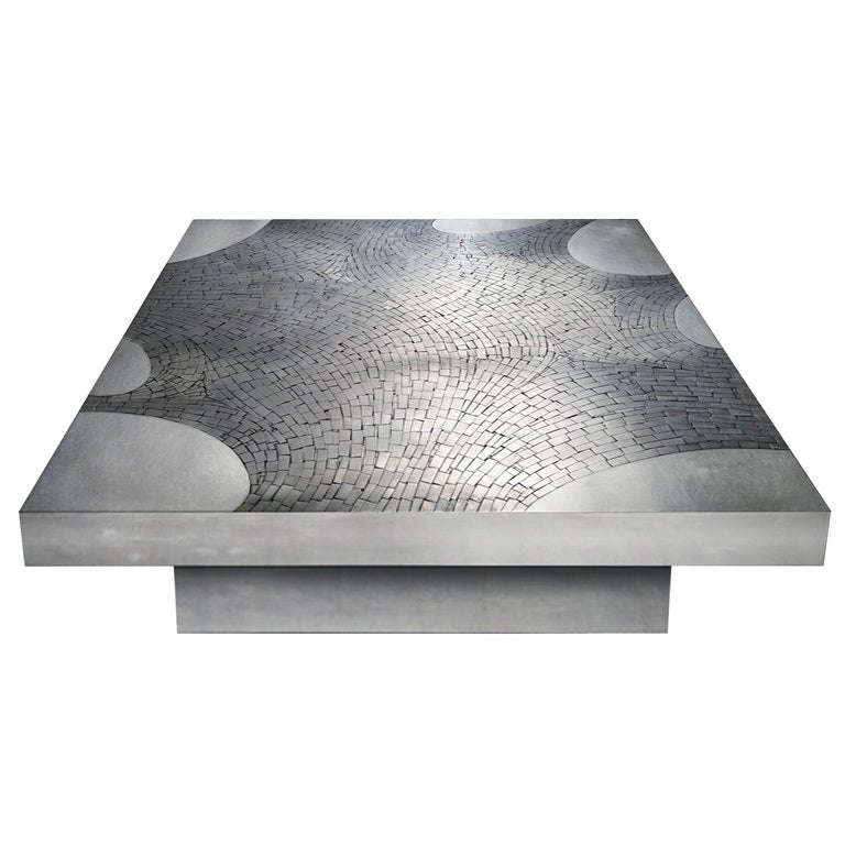 Signed Stainless Steel Coffee Table By Jean Claude Dresse 1