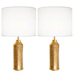 Pair of Italian Gold Ceramic Lamps