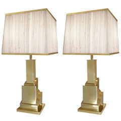 Pair of Signed Romeo Rega Brass Cubist Lamps