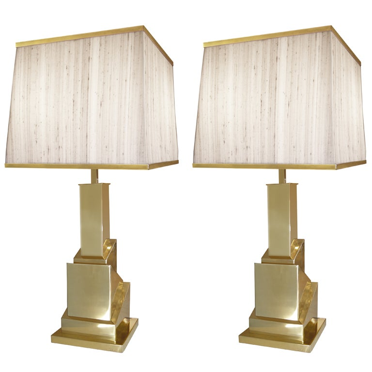 Pair of Signed Romeo Rega Brass Cubist Lamps For Sale