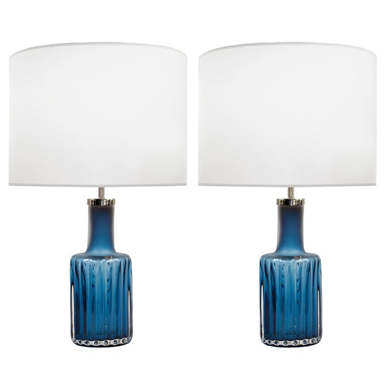 Pair Of Blue Glass Lamps By Ove Sandeberg For Kosta Boda