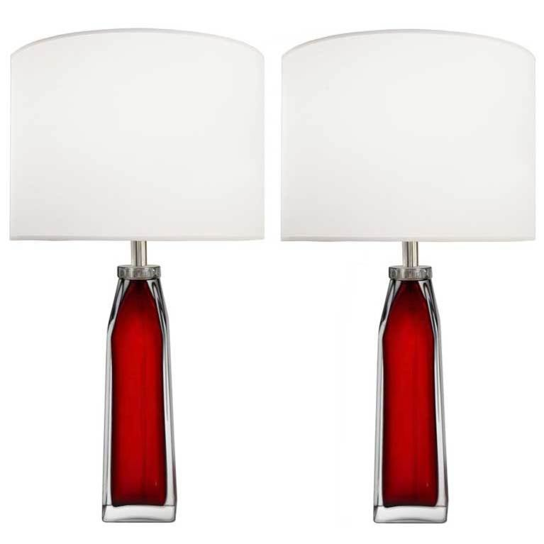 Pair of Nils Landberg for Orrefors Red and Clear Glass Lamps