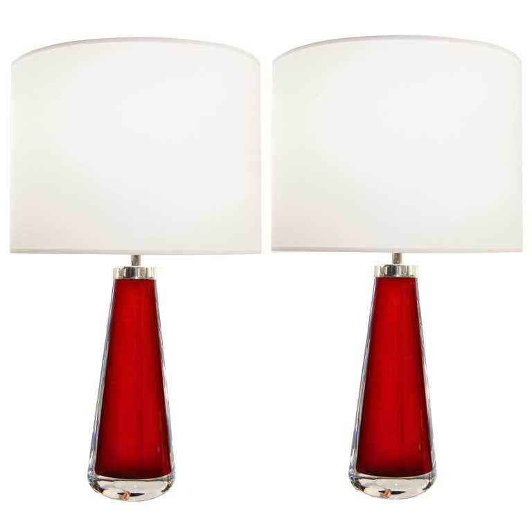 Pair of Nils Landberg for Orrefors Red Glass Lamps