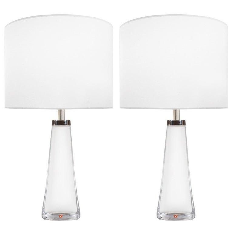 Pair of Nils Landberg for Orrefors White Glass Lamps