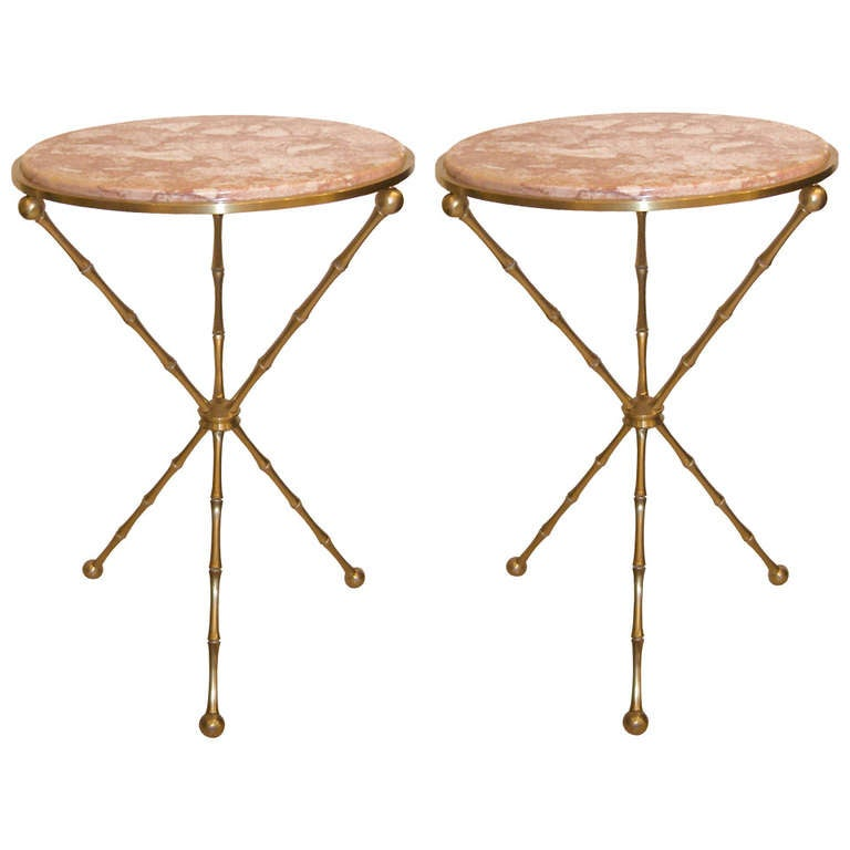 John Widdicomb Furniture For Sale ... French Bronze Bamboo Side Tables with Marble Tops For Sale at 1stdibs