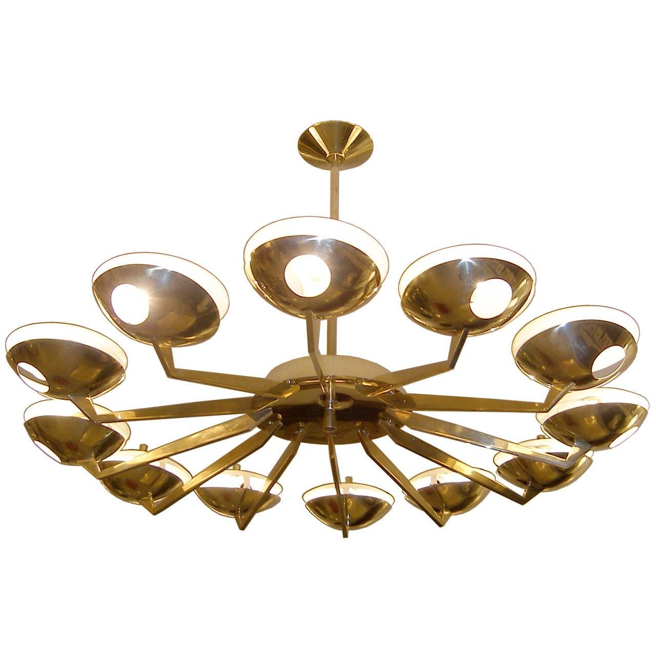 Stilnovo Twelve-Arm Brass and Glass Chandelier