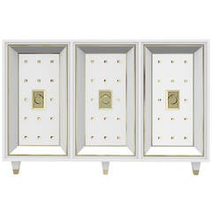White Lacquered and Brass Credenza