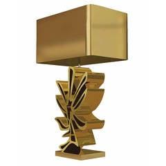Large Cast Bronze Flower Lamp