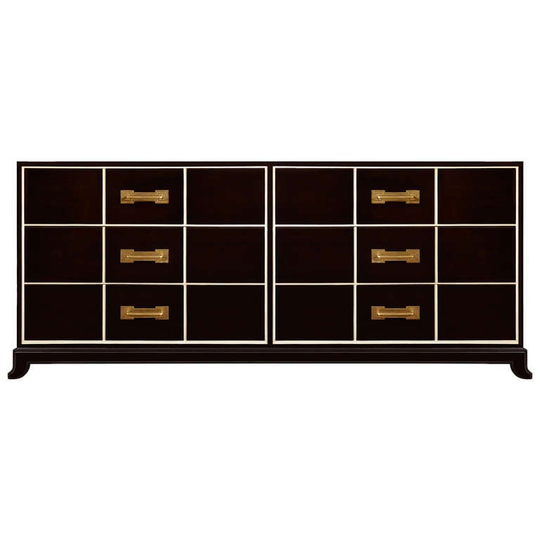 Ebonized Mahogany Six Drawer Dresser by Tommi Parzinger