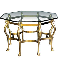 French Octagonal Shaped Bronze Horse Motif Center Table