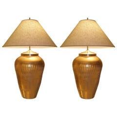Pair of Large Italian Ceramic Metallic Gold Lamps with Light Craquelure Finish