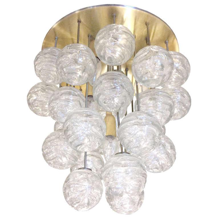 Kalmar Brass and Glass Ceiling Fixture