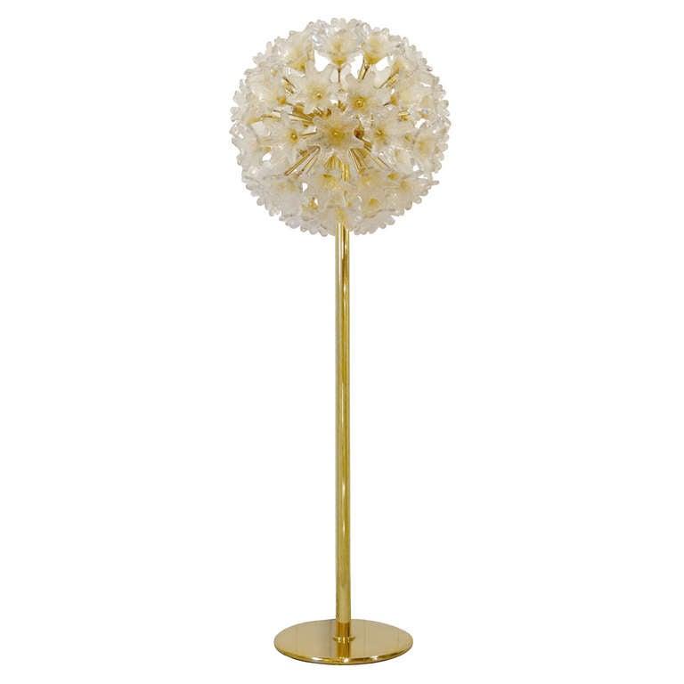 Murano glass flower ball floor lamp for sale at 1stdibs for Floor lamp glass stem