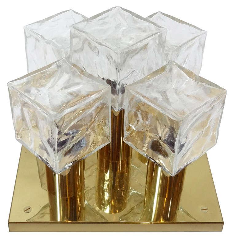 J.T. Kalmar Brass and Glass Ceiling Fixture