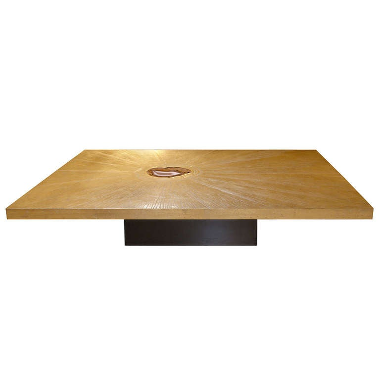 Umstead Oval Engineered Wood Coffee Table: George Mathias Etched Bronze And Agate Coffee Table For