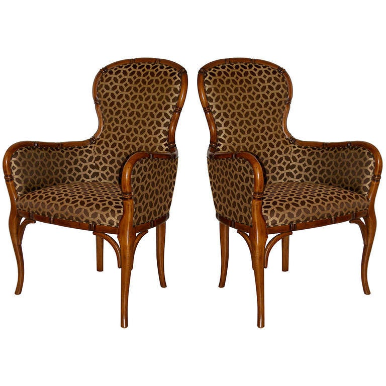 Pair of French Hand-Carved Bamboo Club Chairs in Fruitwood