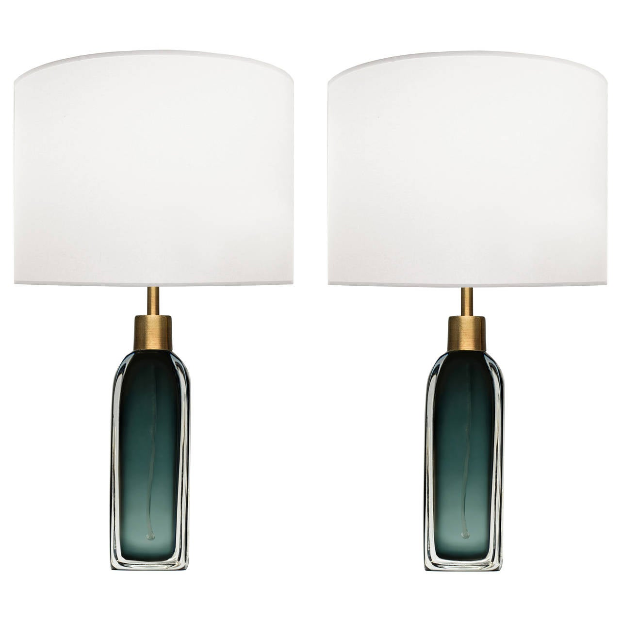 Pair of Nils Landberg for Orrefors Green Glass Lamps