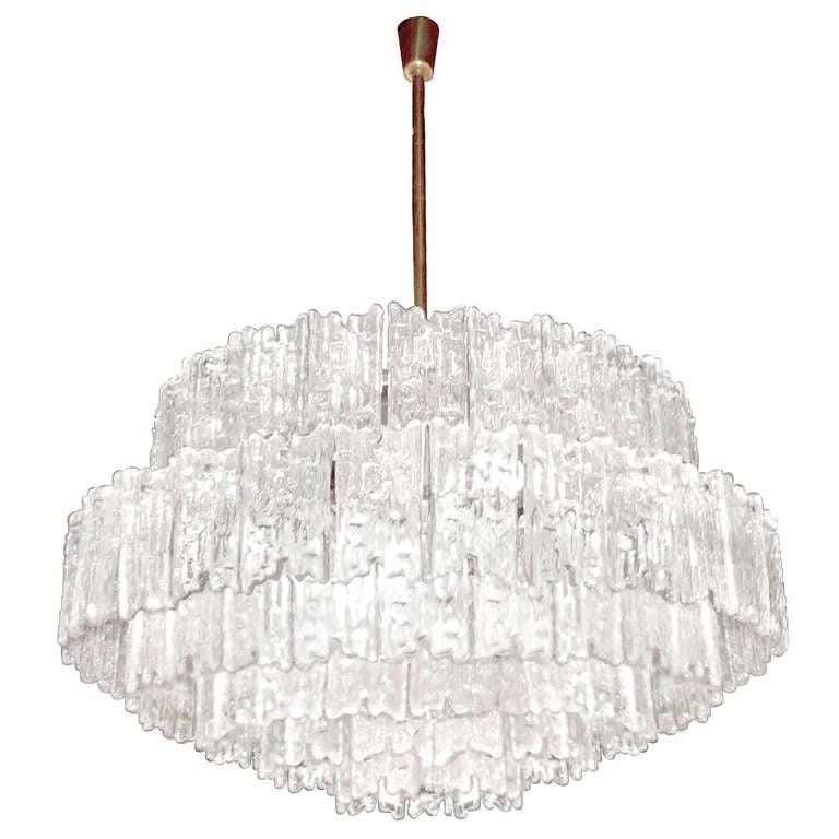 J. T. Kalmar Large Textured Glass Chandelier