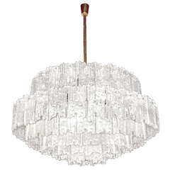 J. T. Kalmar Large Textured Glass Chandelier