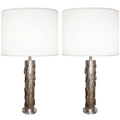 Pair of Modernist Bronze and Brushed Nickel Lamps