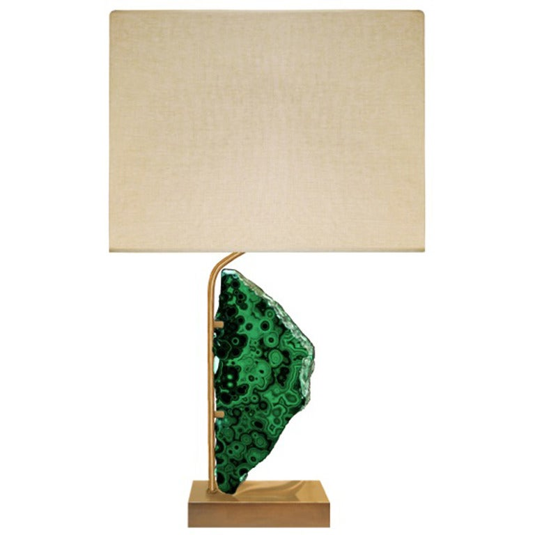 Willy Daro Bronze and Malachite Lamp For Sale