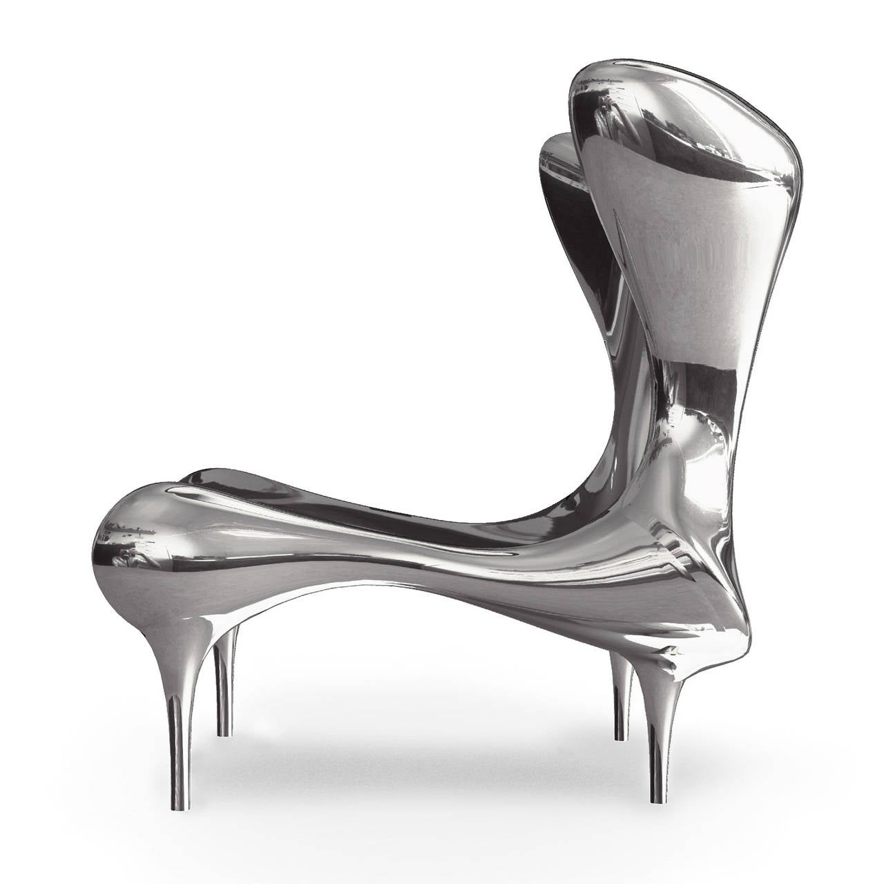 Riemann Chair in Mirror Polished Stainless Steel For Sale