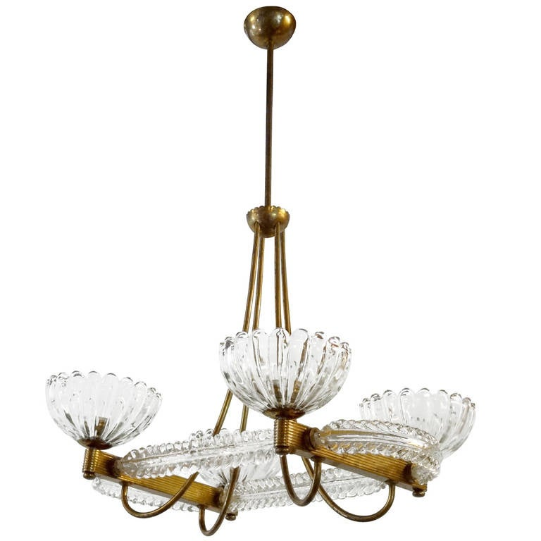 Brass and Glass Chandelier by Barovier e Toso For Sale at 1stdibs