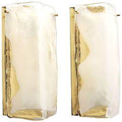 Pair of Brass and Glass Sconces by J. T. Kalmar