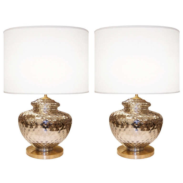 pair of textured mercury glass lamps for sale at 1stdibs. Black Bedroom Furniture Sets. Home Design Ideas