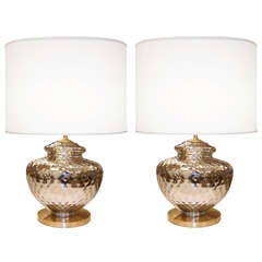 Pair of Textured Mercury Glass Lamps