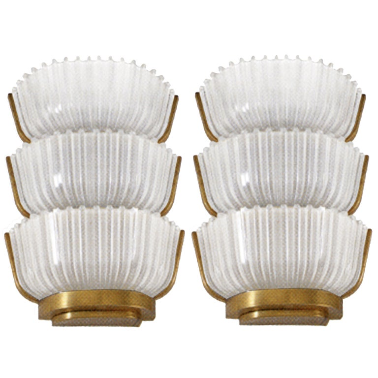 Pair of Archimede Seguso 3 Tiered Sconces