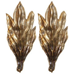 Pair of Signed Garouste & Bonetti Cast Bronze Sconces
