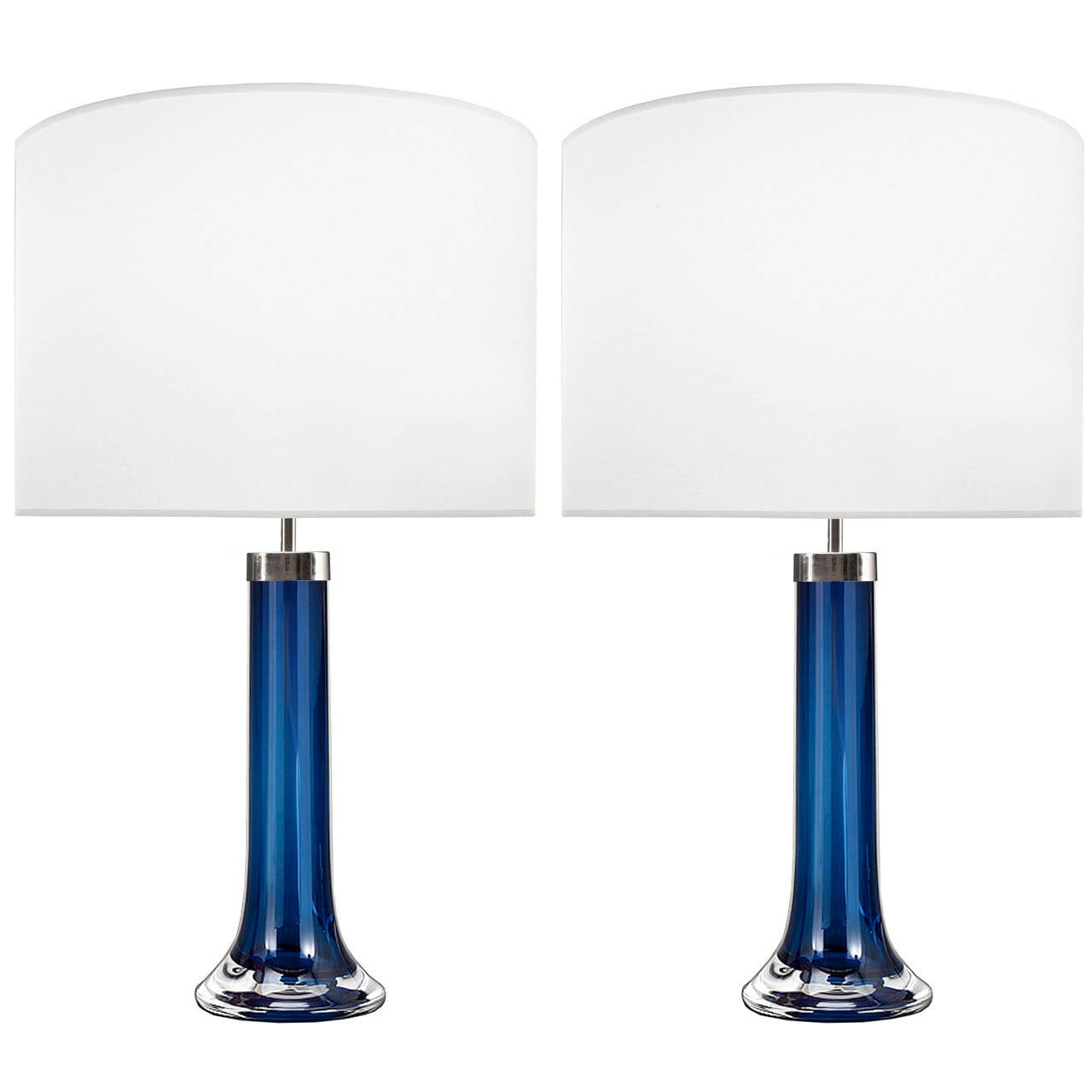 Pair of Johansfors Blue Glass Lamps