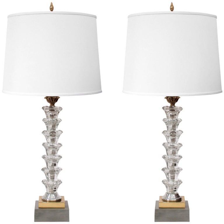 Elegant Table Lamps In Crystal By Warren Kessler 1